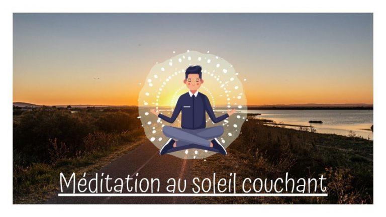 Méditation au soleil couchant en réalité virtuelle